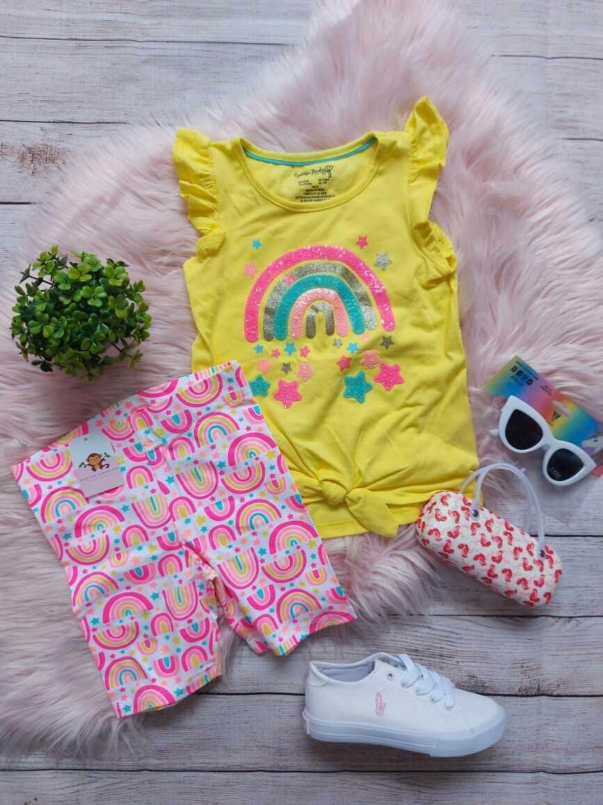Set 2 piezas arcoiris, blusa + licra corta, 5 años