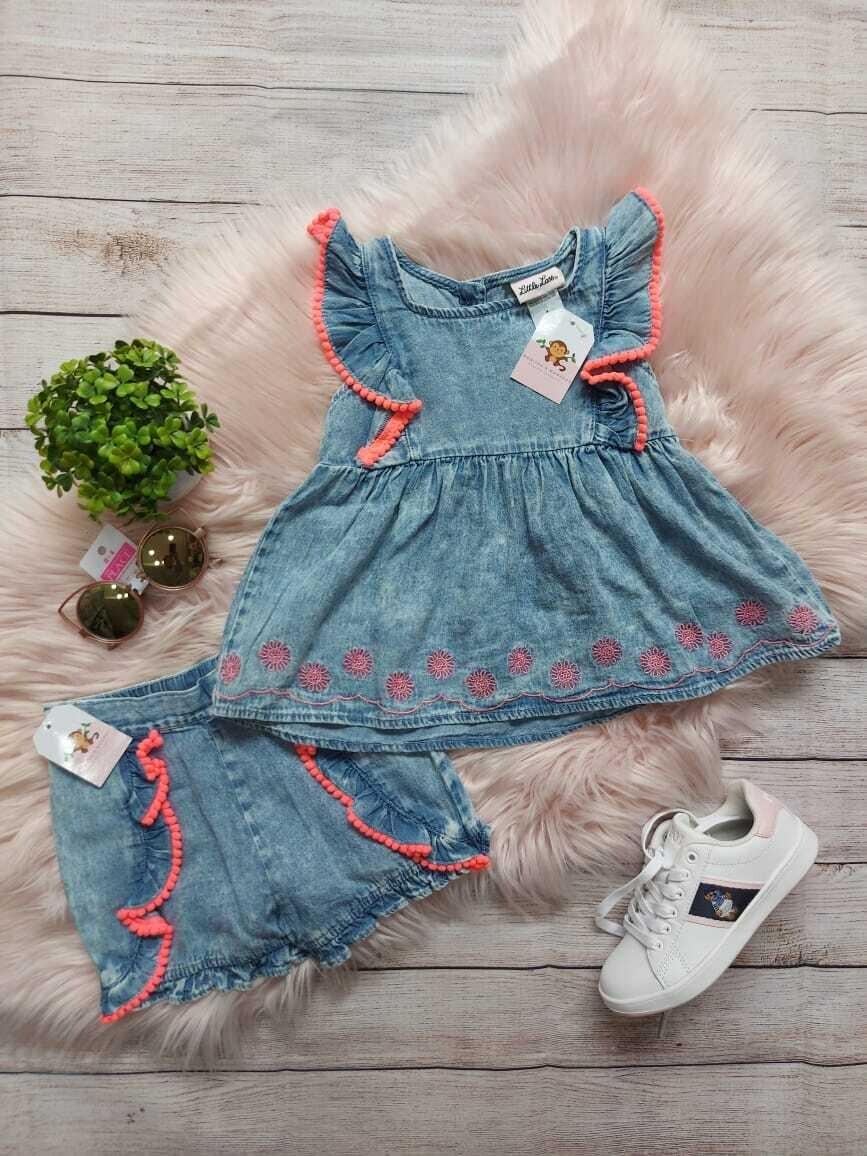 Set blusa y short estilo denim, 5 años
