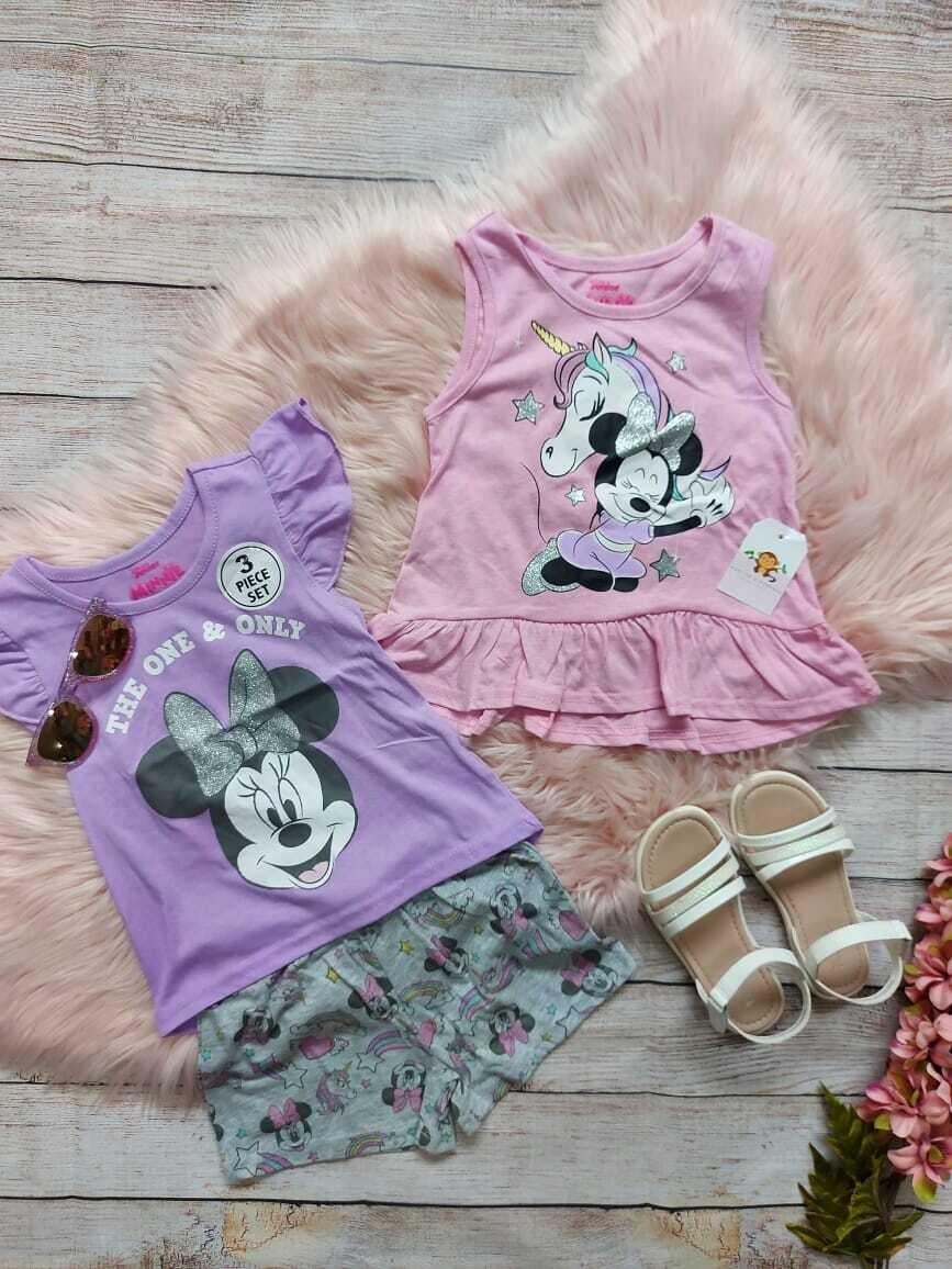 Set 3 piezas Minnie Mouse, 2 blusas + short, 5 años