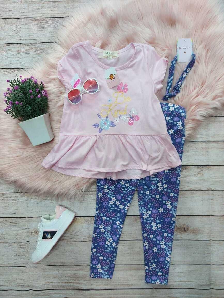 et 3 piezas, blusa rosa + leggins lila de flores + cintillo, 6 años