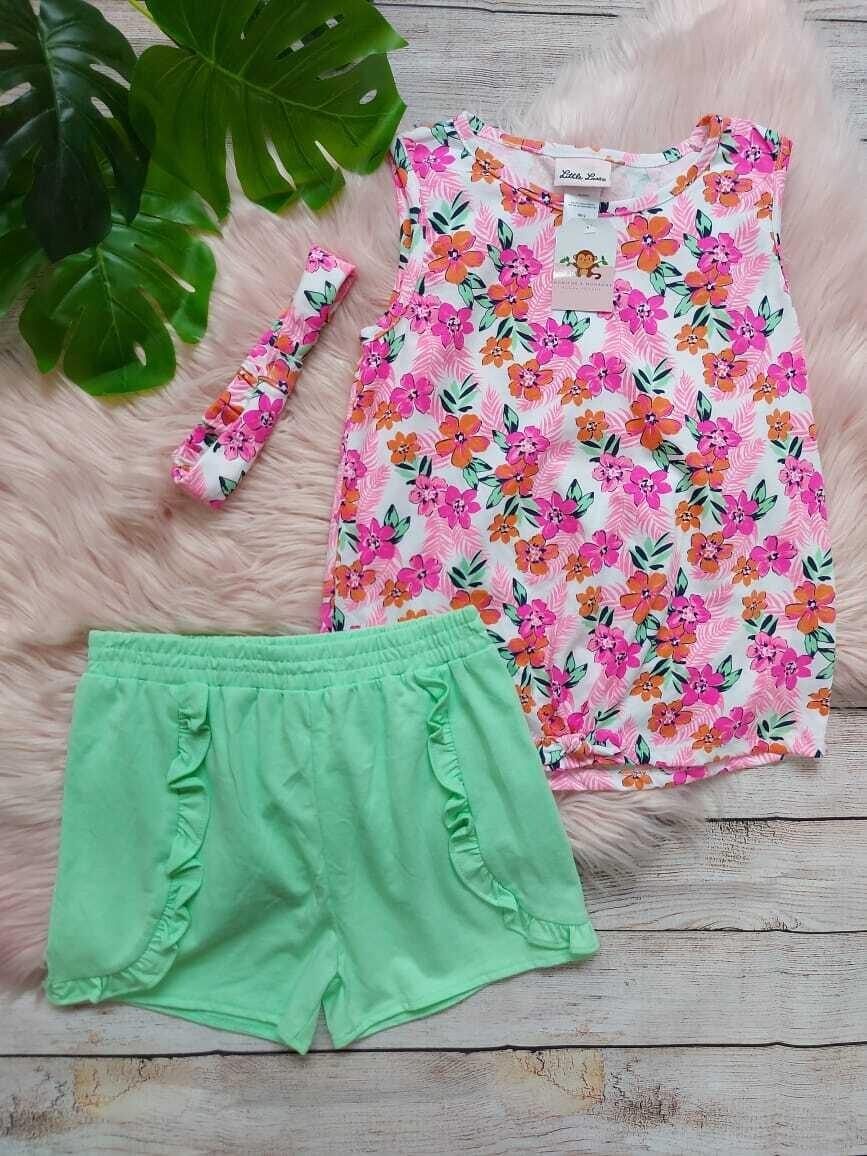 Set 3 piezas, blusa flores + short color menta + cintillo, 10 años