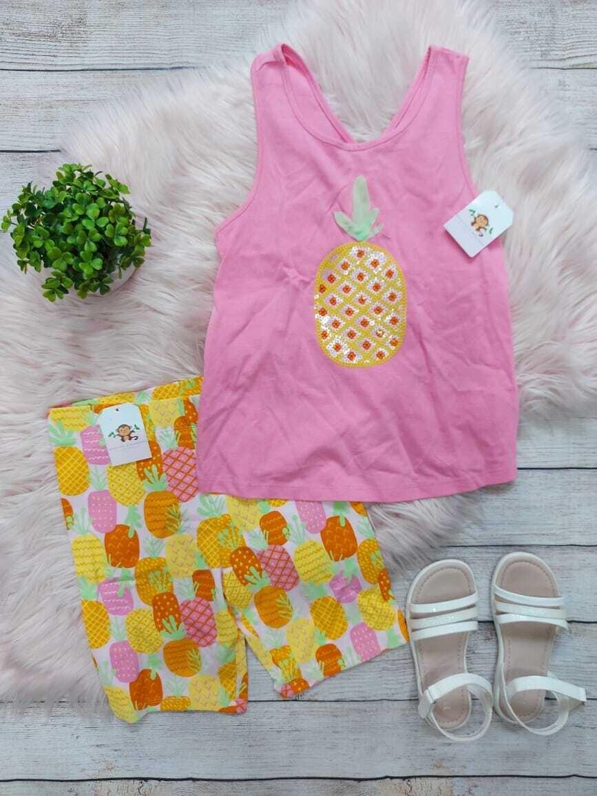 Set 3 piezas piña, blusa rosada + licra + moño, 7 años