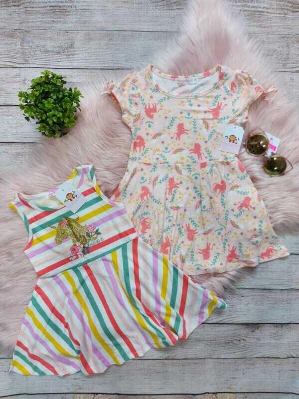 Set 2 vestidos unicornio, 3 y 6 años