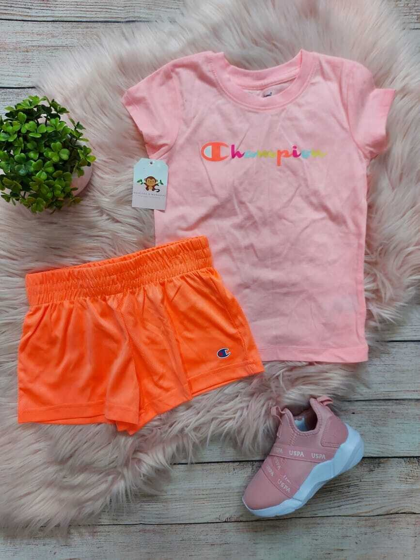Set 2 piezas Champions, camiseta + short anaranjado neón, 4t