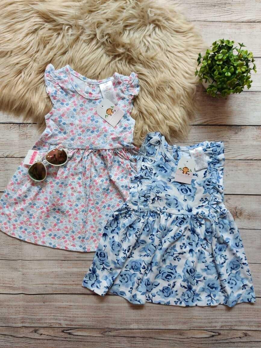Vestido rosado con flores, vestido blanco con rosas azules, 18 meses
