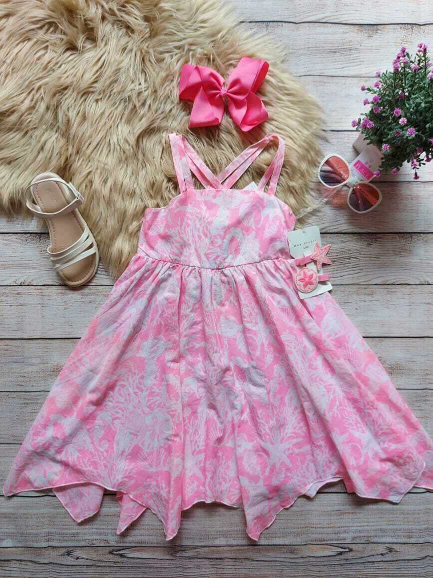 Vestido rosa marino + set de vinchas, 5 años
