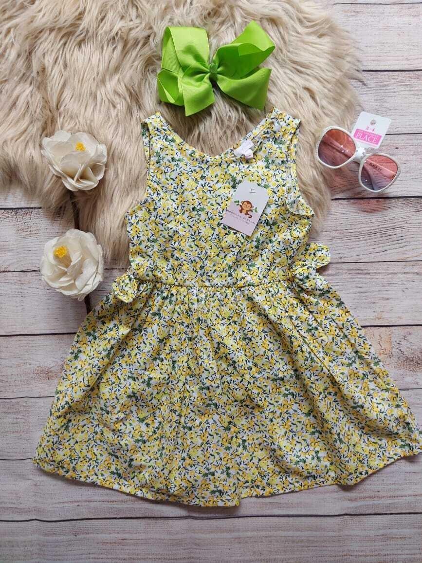Vestido amarillo con flores azules, 2, 3 y 4 años