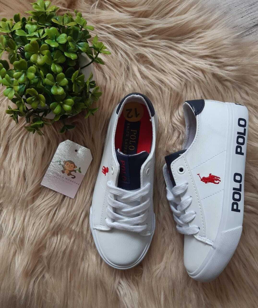 Zapatos Polo Ralph Lauren, blancos con azul, Talla 12us