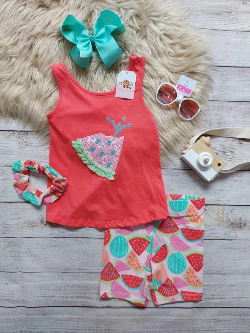 Set 3 piezas sandía, blusa coral + licra + moño, 5-6 años