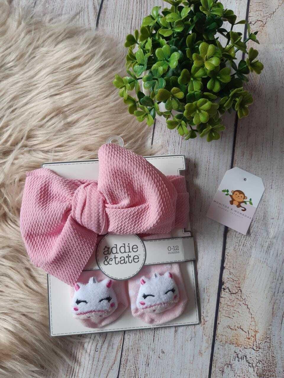 Set Cintillo rosado + medias de unicornio, 0-12 meses