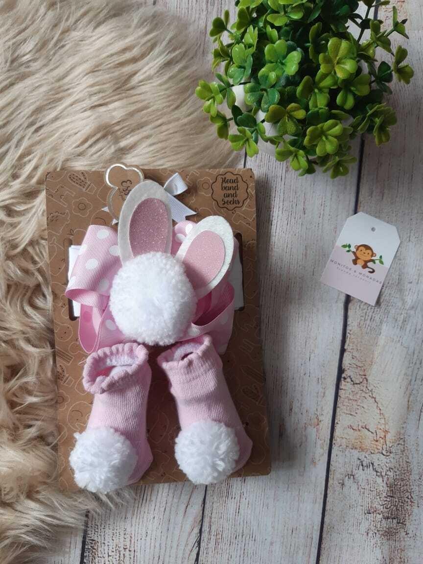 Set cintillo conejito + medias rosadas, Talla 0-6 meses