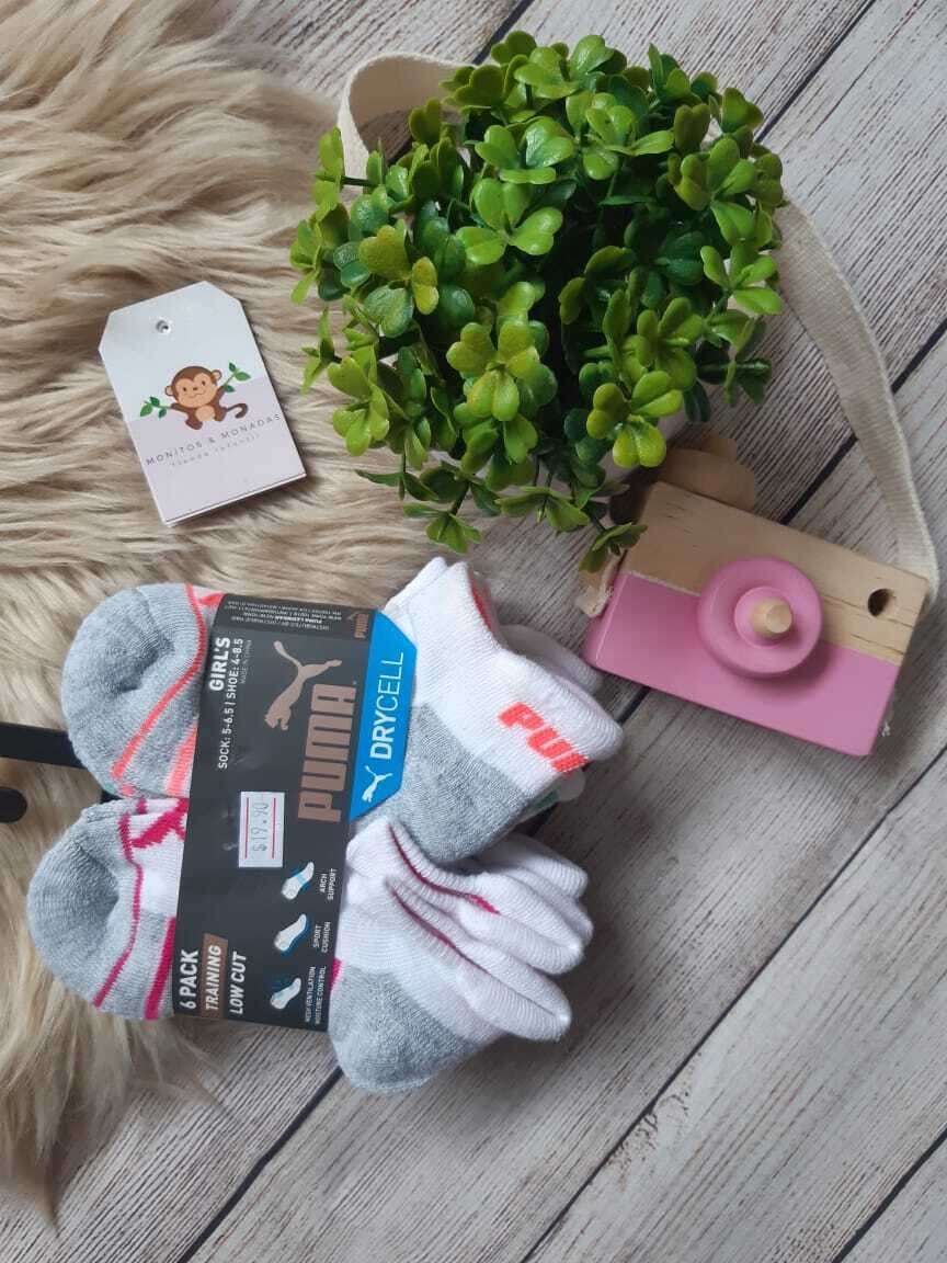 Pack 6 pares de medias Puma de niña, Tallas 4us-8.5us, 9us-3.5us