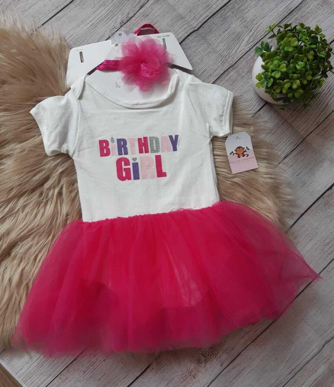Vestido con tutú + cintillo color fucsia, Talla 12-18 meses