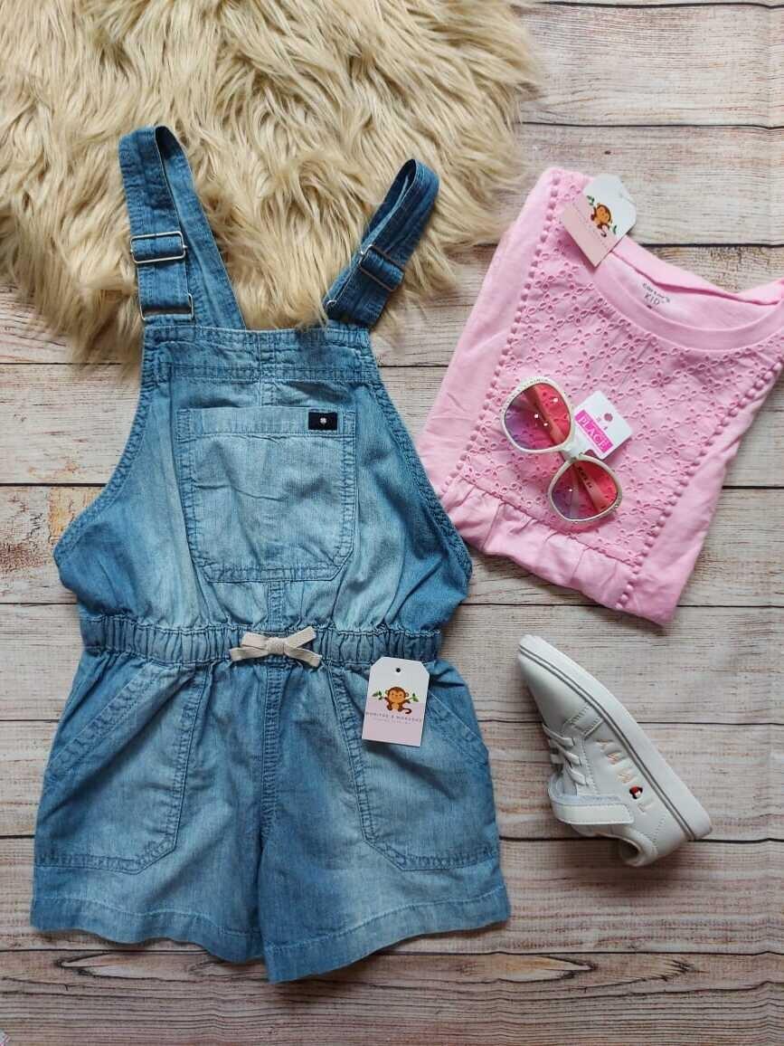 Overall jean + blusa rosada, 7 años
