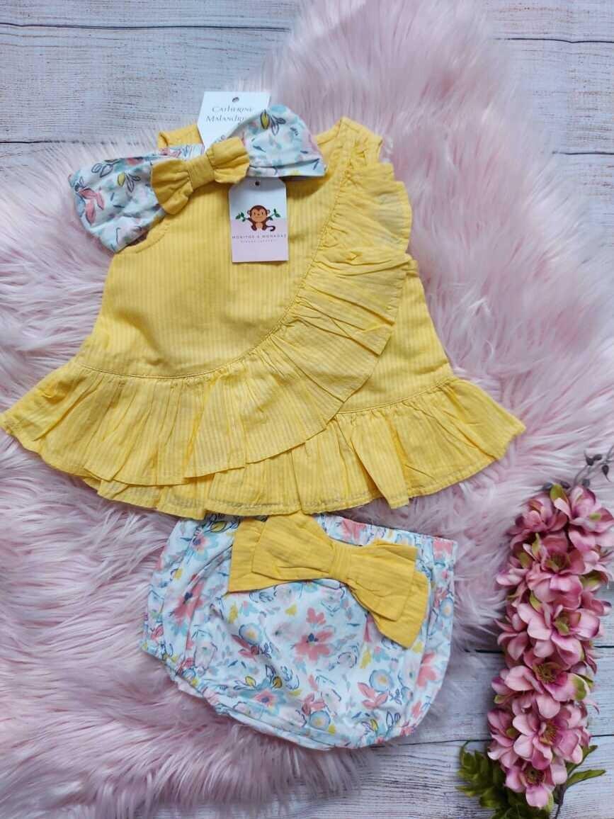 Set 3 piezas, blusa amarilla + short + cintillo, 6-9m