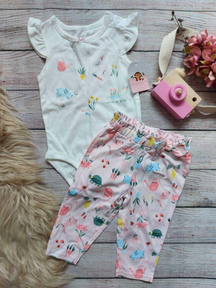Set 2 piezas Carter's, bodysuit + pantalón de animalitos, 6 meses