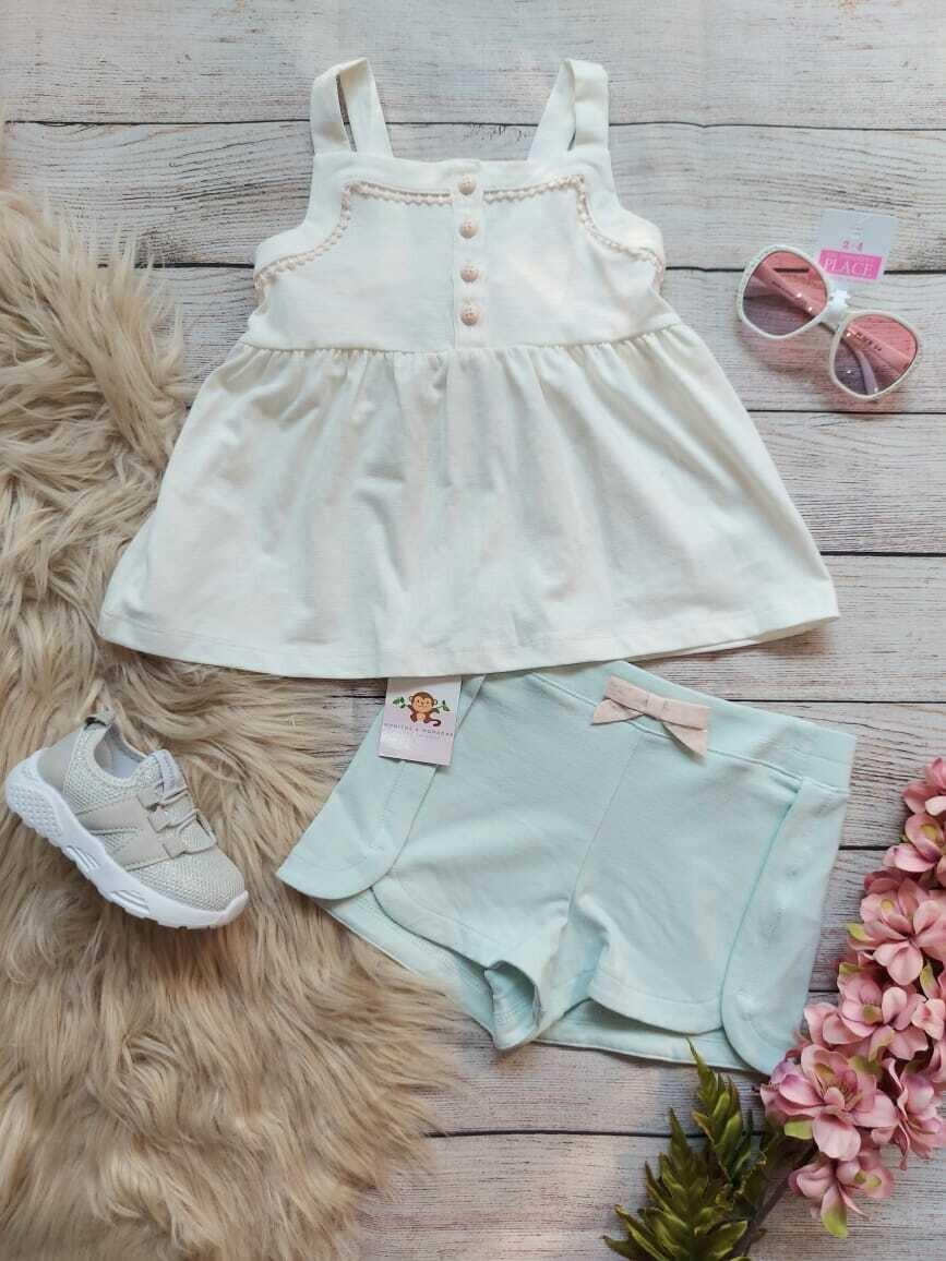 Set 2 piezas, blusa crema + short celeste pastel, 24 m