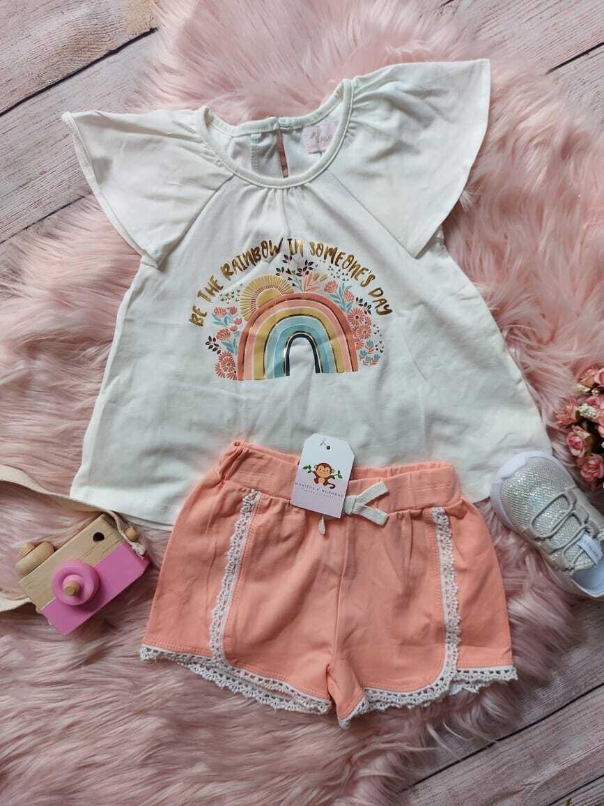 Set 2 piezas, blusa blanca + short color melón, 18 meses