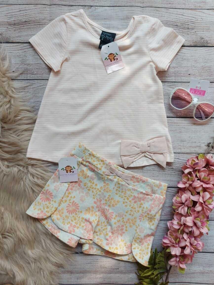 Set 2 piezas, blusa + short floreado, 24 meses