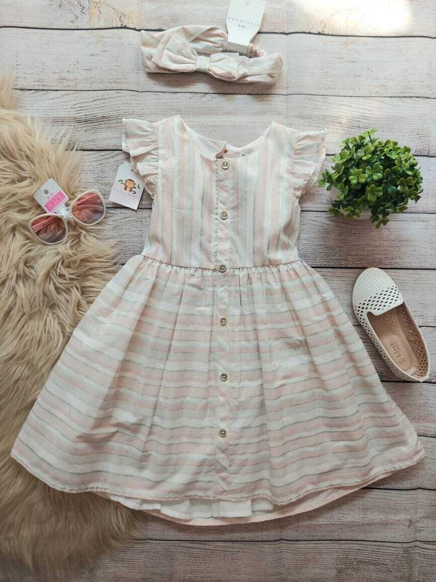 Vestido a rayas color palo de rosa, menta y dorado + cintillo a juego, 4t