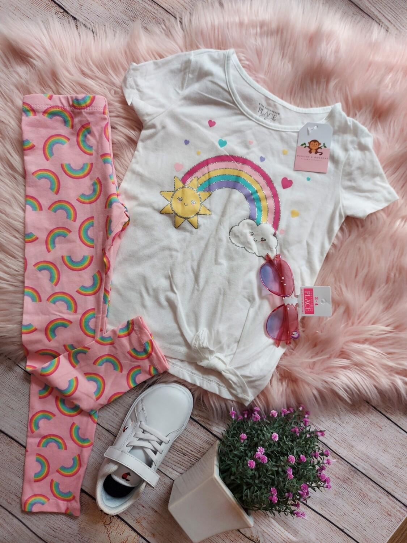 Set Children's Place, blusa arcoiris + leggins , 2 y 5 años
