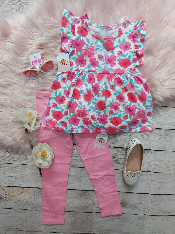 Set blusa flores +  leggins rosa 18 a 24 meses