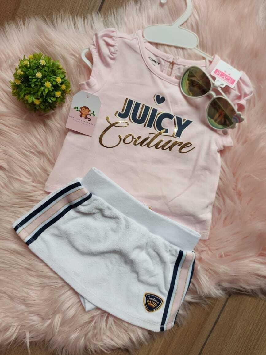 Set 2 piezas Juicy Couture, blusa + falda short, 12 meses