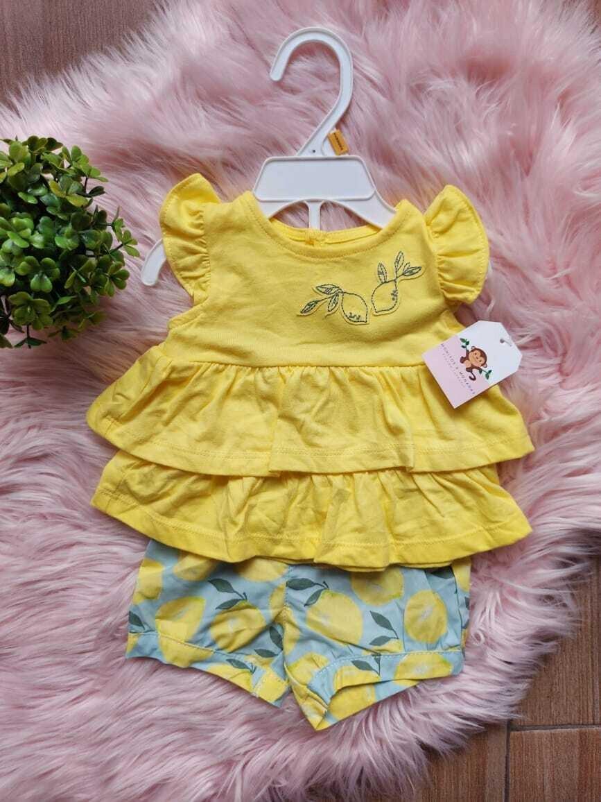 Conjunto 2 piezas limones, blusa amarilla + short, 6 y 24 meses