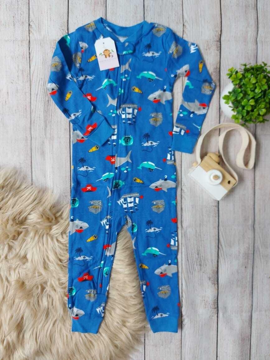 Pijama azul de tiburones, 12 y 24 meses