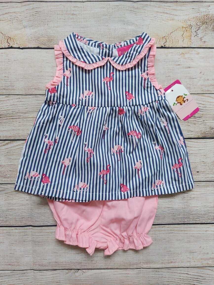 Conjunto flamingos, Blusa rayada+ short rosado, 3 a 6 meses
