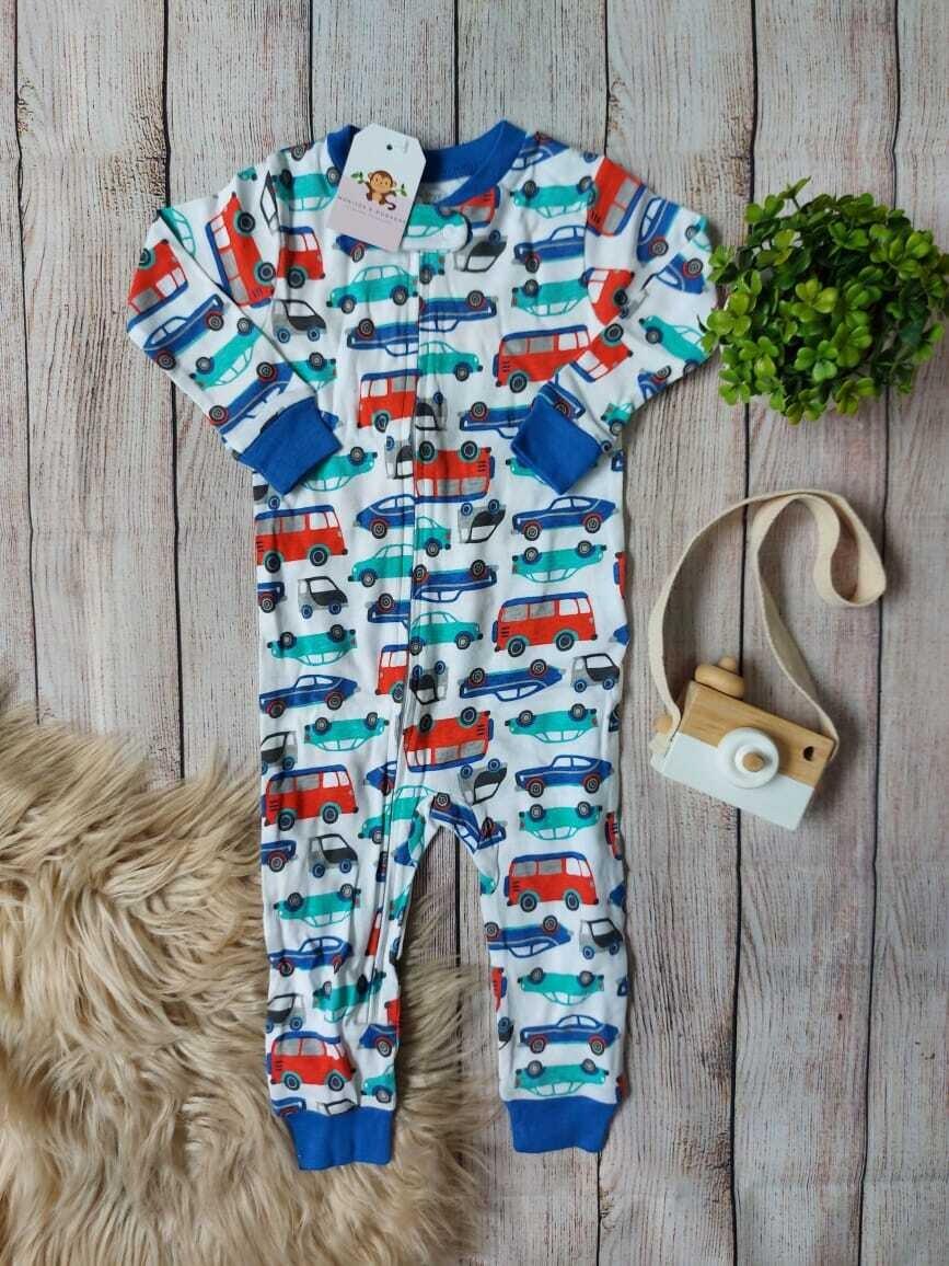 Pijama blanca y azul de carritos, 12 y 24 meses