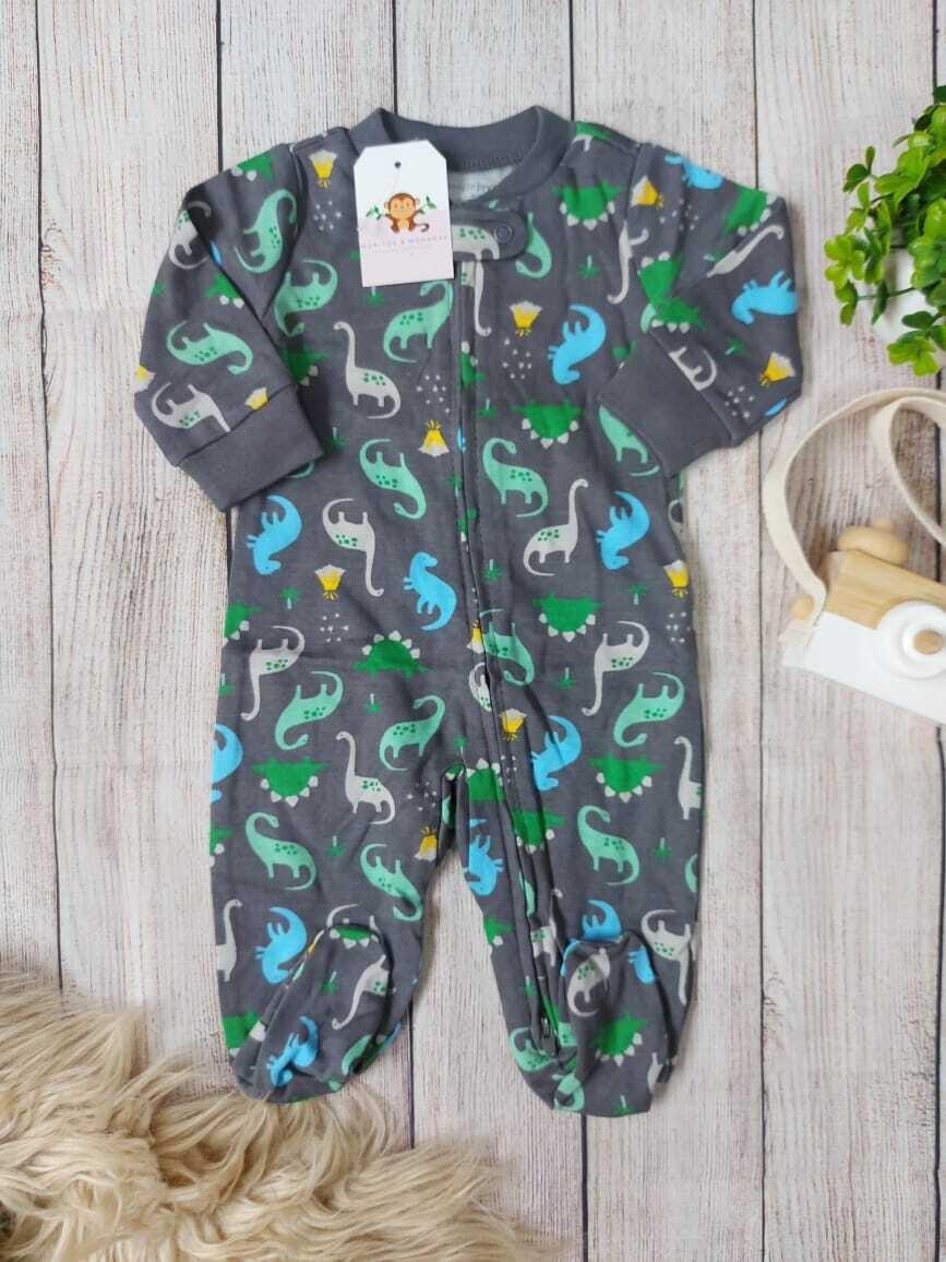 Pijama gris de dinosaurios, 0 a 3m y 3 a 6m