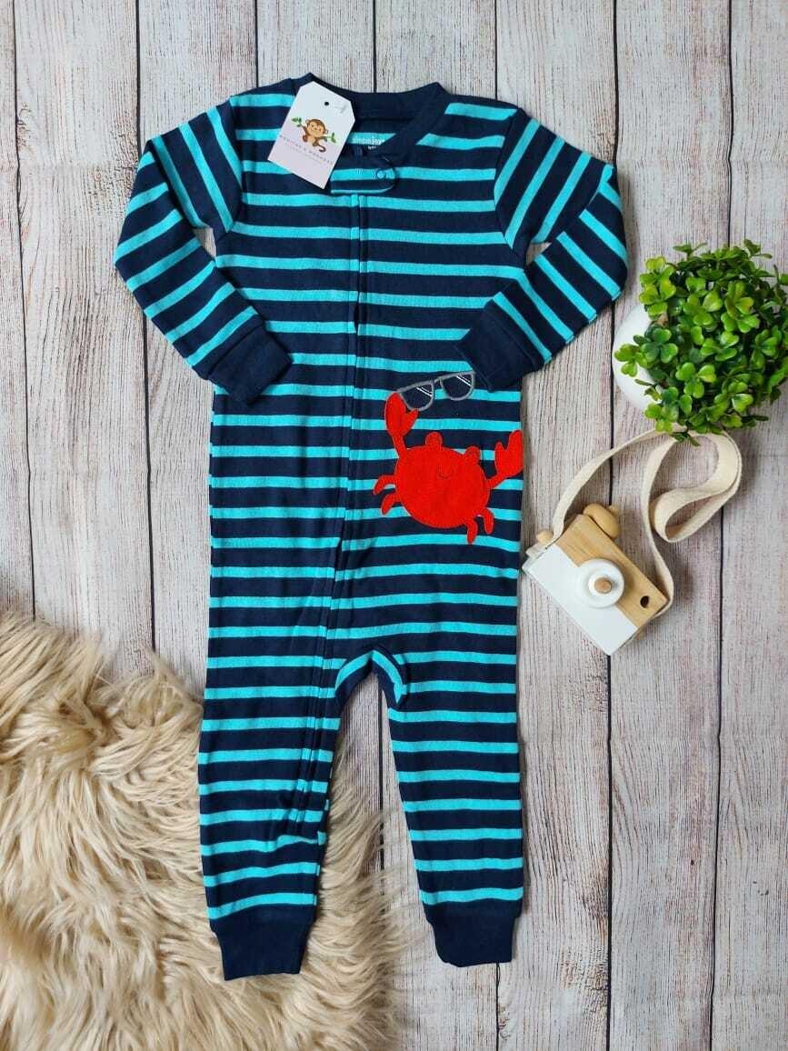 Pijama a rayas de cangrejito, 12 y 24 meses