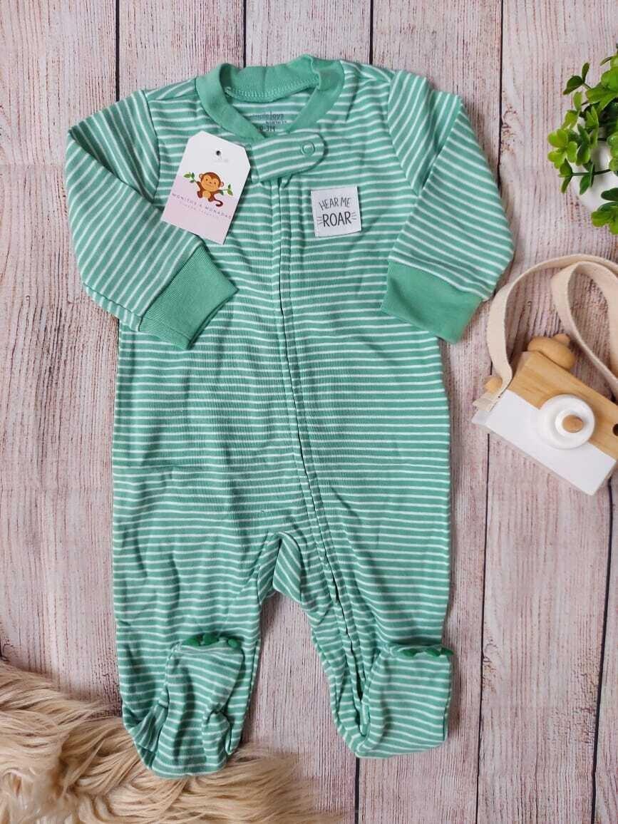 Pijama a rayas verde de dinosaurio, 0 a 3 meses