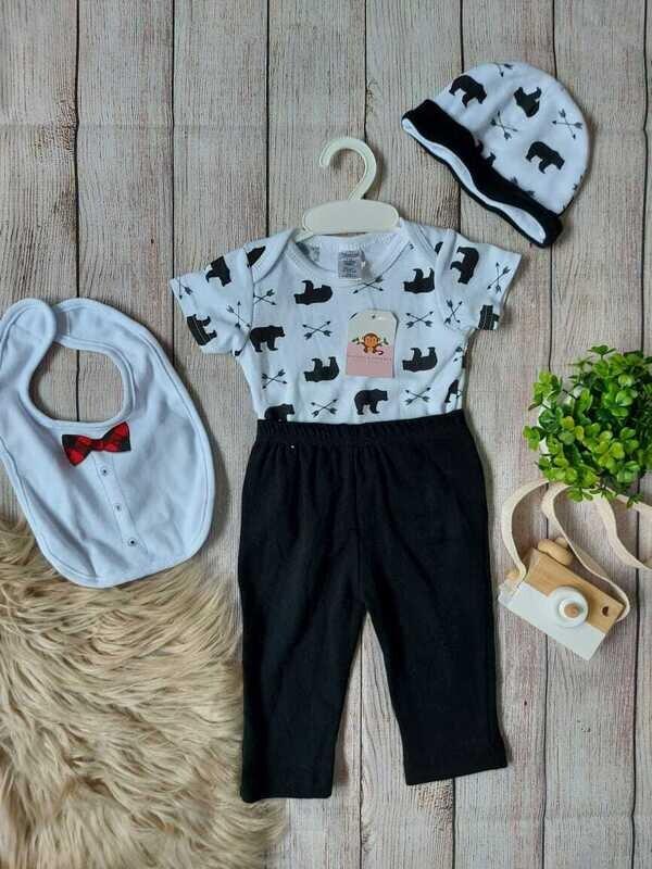 Set 4 piezas, Bodysuit + pantalón + gorrito + babero, 0 a 3 meses