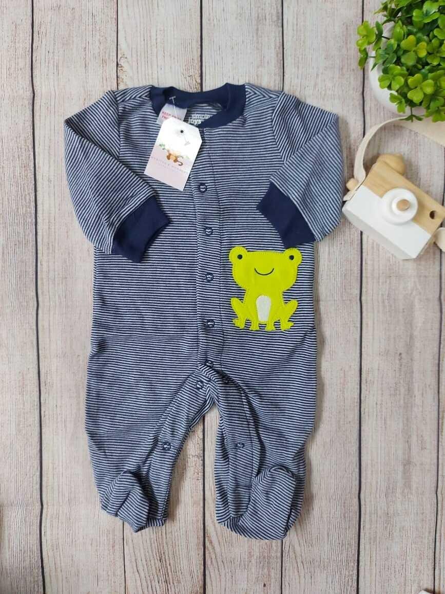 Pijama azul de ranita, 0 a 3 meses, 3 a 6m y 6 a 9m
