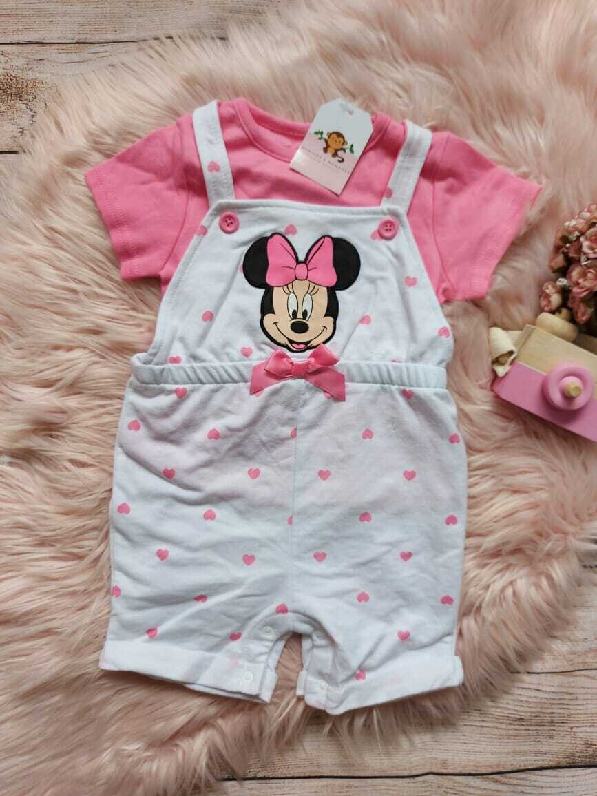 Overall blanco Minnie Mouse + blusa rosada, 24 meses