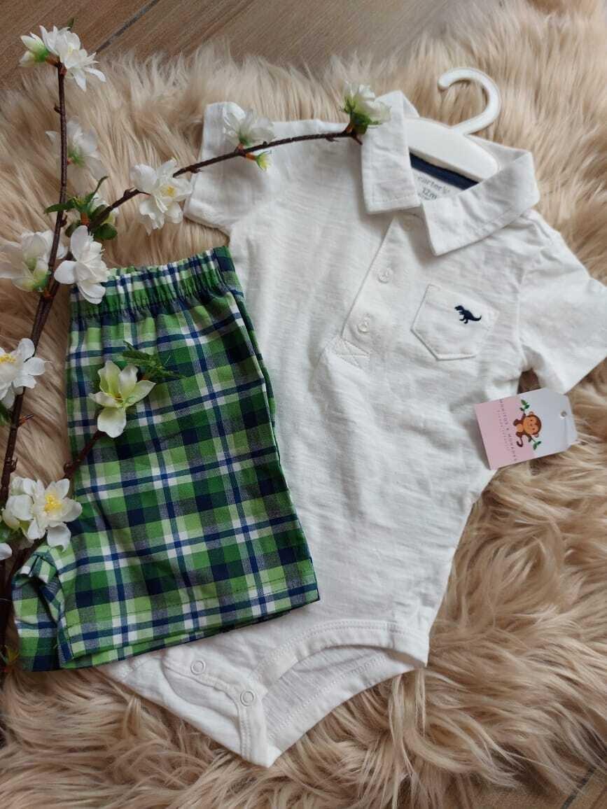 Set 2 piezas, bodysuit blanca tipo polo + short a rayas, 24 meses