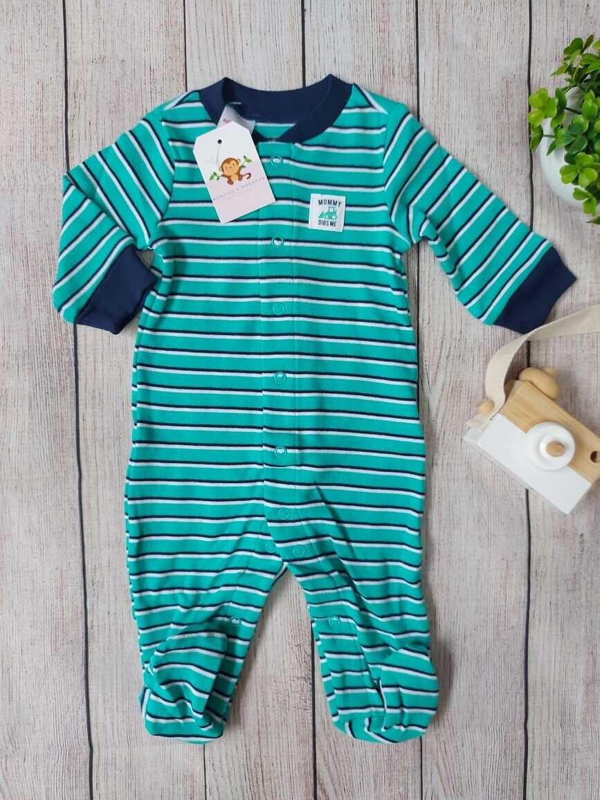 Pijama a rayas turquesa y azul, 0 a 3m, 3 a 6m, 6 a 9m