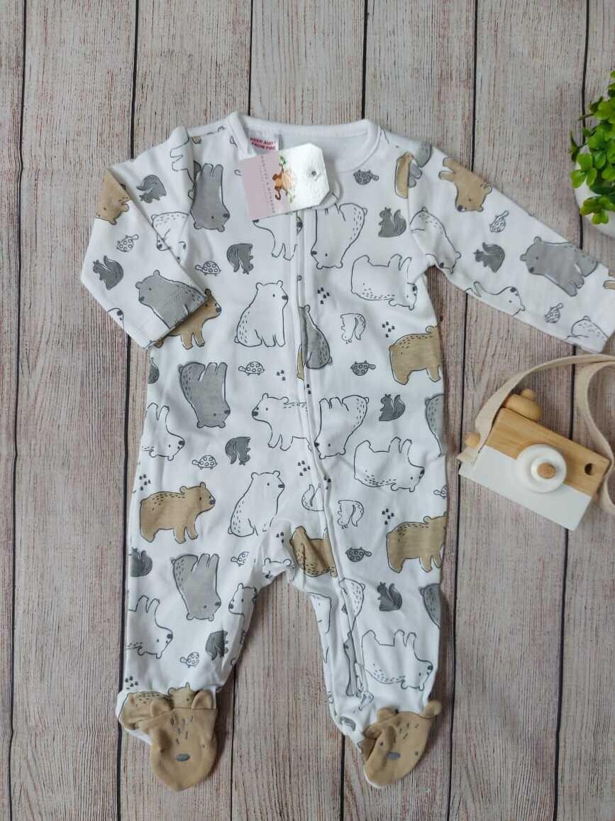 Pijama blanca de ositos,  6 a 9m