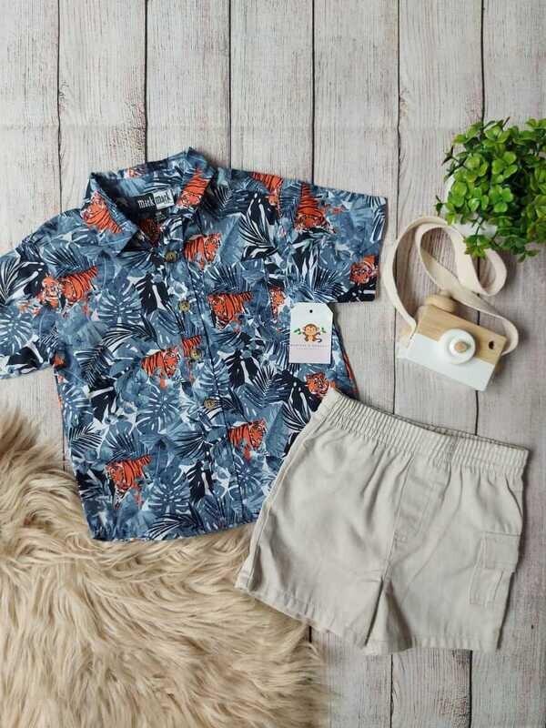 Set 2 piezas, camiseta azul tigre + short beige, 18 meses