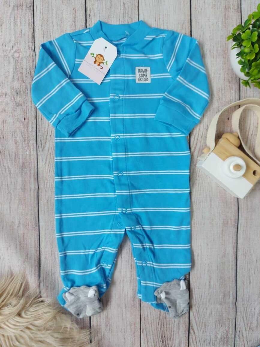 Pijama celeste con rayas blancas, 0 a 3m