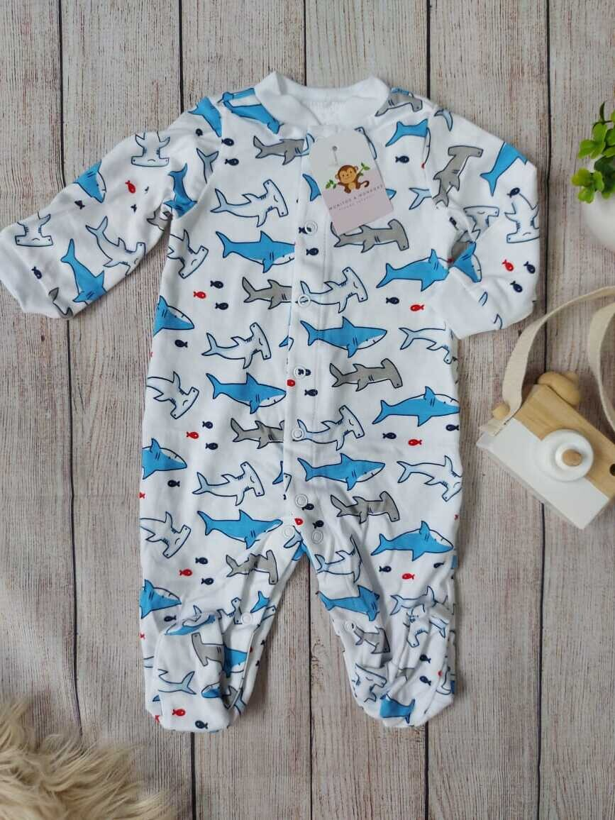 Pijama blanca de tiburones, 0 a 3m y 3 a 6m