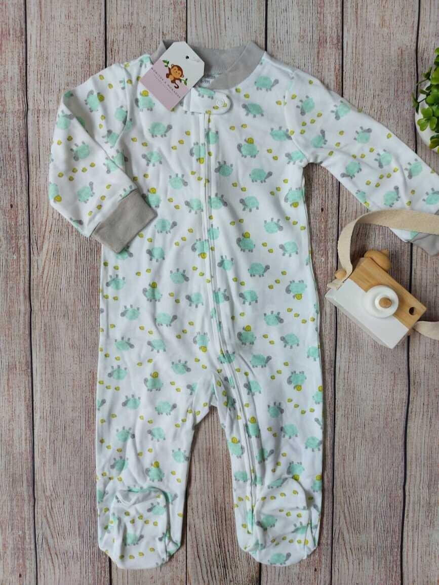 Pijama blanca de tortuguitas, 6 a 9 meses