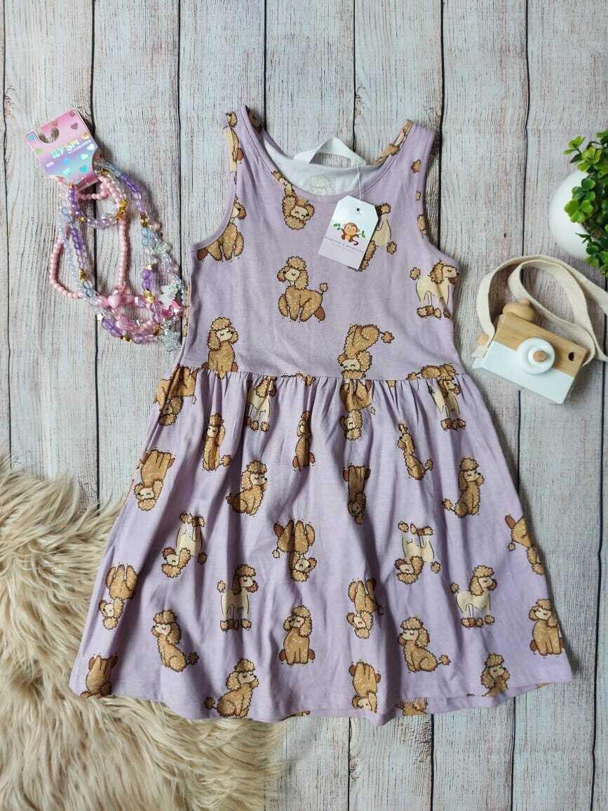 Vestido H&M lila con detalles de perritos, 4-6 años