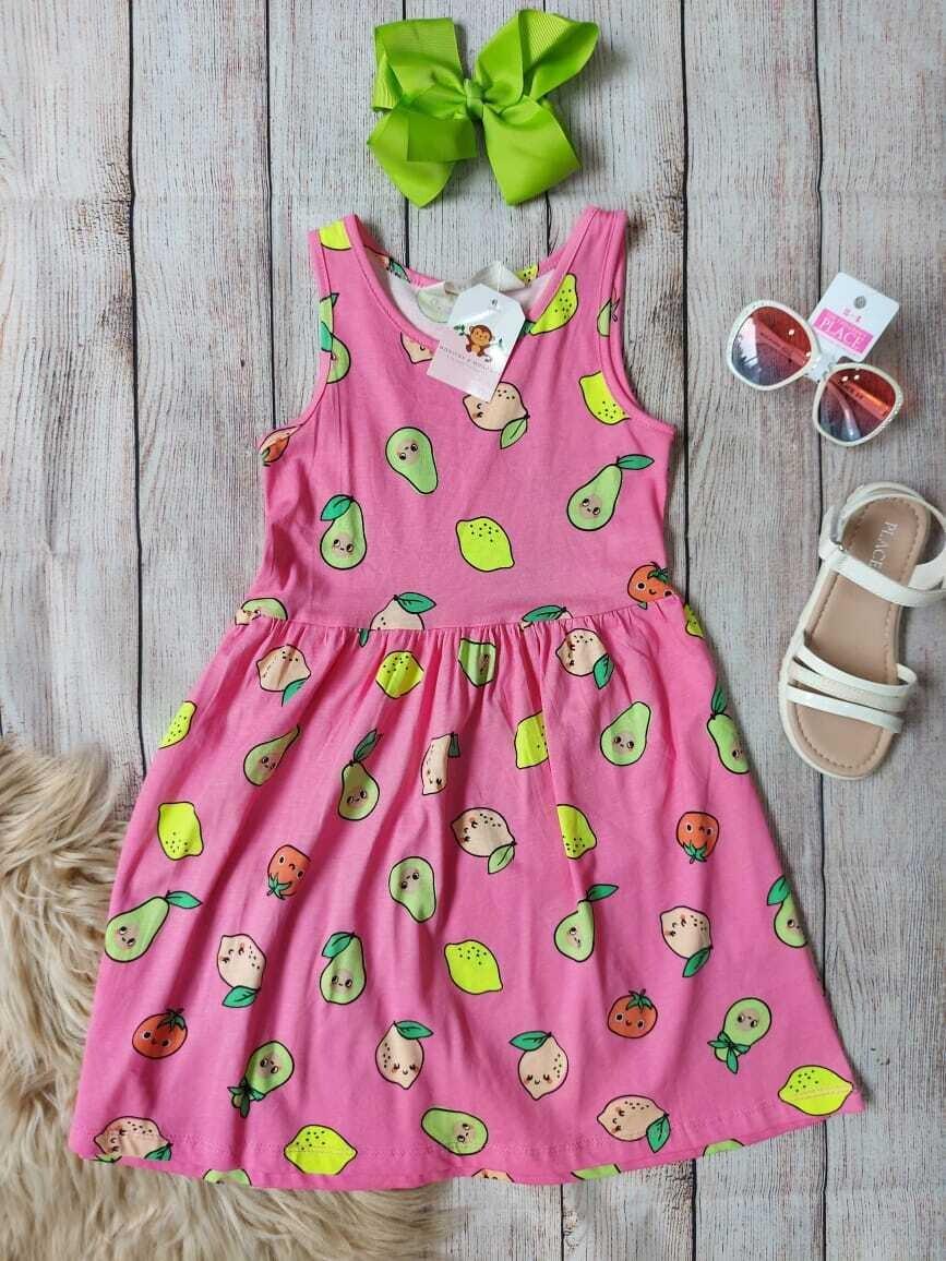 Vestido H&M rosado con detalles de frutas, 6 a 8 y 8 a 10 años