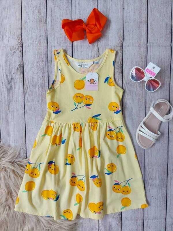 Vestido H&M amarillo con detalles de limón, 4-6, 6-8 años
