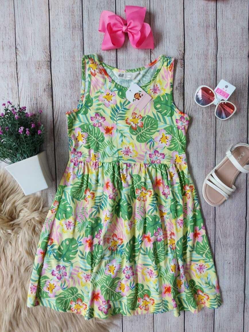 Vestido H&M con flores y hojitas, 8-10 años