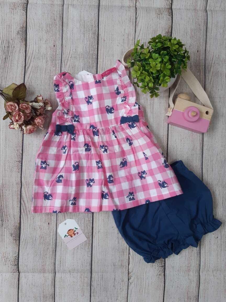 Set 2 piezas gatito, blusa a cuadros color rosado + short azul, 6-9 meses