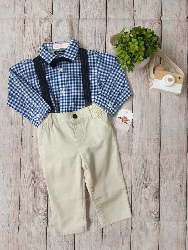 Conjunto 3 piezas, camisa a cuadros azul + pantalón beige con tirantes + corbatín, 6-9 meses